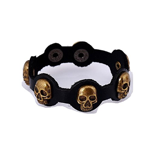 Fariishta Jewelry Vintage Skeleton Head Black Leather Bracelet (Homemade Firefighter Costume)