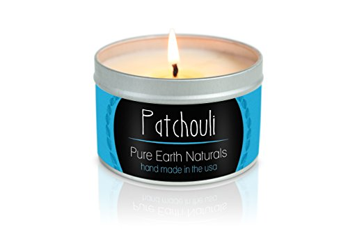 Pure Earth Naturals Soy Wax Aromatherapy Scented Candle - Made with 100% Pure Essential Oil and Soy Wax- Made in USA - 8oz (Patchouli)