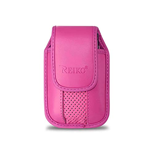- Pink Leather Case with Pinch Clip for CoolPad Snap Flip Phone