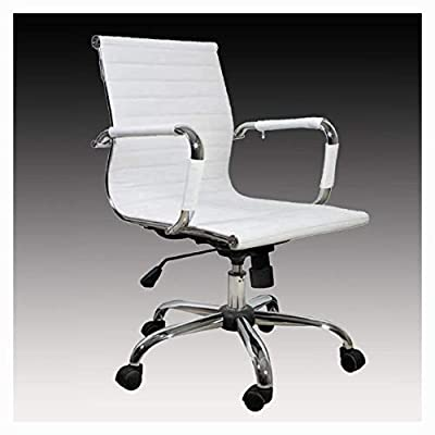 K&A Company Office Chair, White Leather Office Chair