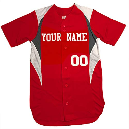 Economy Custom Baseball Jersey 6 Button, Scarlet Red, White, Charcoal, Adult XL
