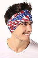 American US Flag Bandana Headband - Show Your American Pride - Perfect All Year & July 4th, Memorial Day, Veterans Day. Wear it when Celebrating, BBQing, Hiking, Camping, Fishing, Running, Biking.
