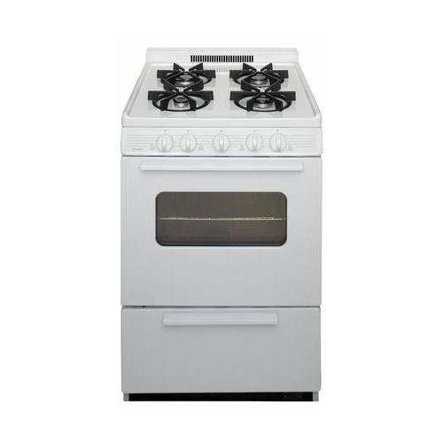 Premier BJK5X0OP White ADA Compliant 24'' Cordless Battery Spark Gas Range with 3 Cu. Ft. Capacity Four Sealed Burners Cast-Iron Grates Windowed Oven Door and 1.5'' Porcelain