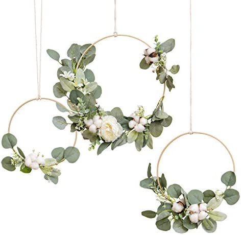 gold and orange roses on a grape vine wreath Cream satin Fall boho floral hoop with cream Eucalyptus navy thistle and grasses to accent