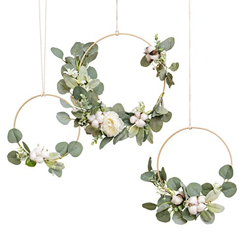 Ling's moment Eucalyptus Wreath, Eucalyptus Garland Greenery Wedding Wreaths Set of 3, Floral Hoop Wreath Set Rustic Wedding Backdrop Decor Flower Garland, Woodland Wedding Decoration Magnolia Wreath (And Wreaths Garlands)