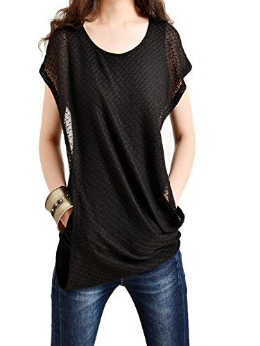 Idea2lifestyle Women's Layered Cotton Hoodie Short Sleeve Version Black (M(US 10))