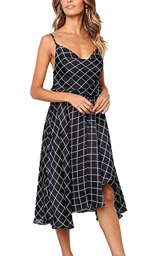 (ECOWISH Womens Backless Straps Plaid Dress Tie Waist High Low Hem Casual Midi Dress Navy Blue M)