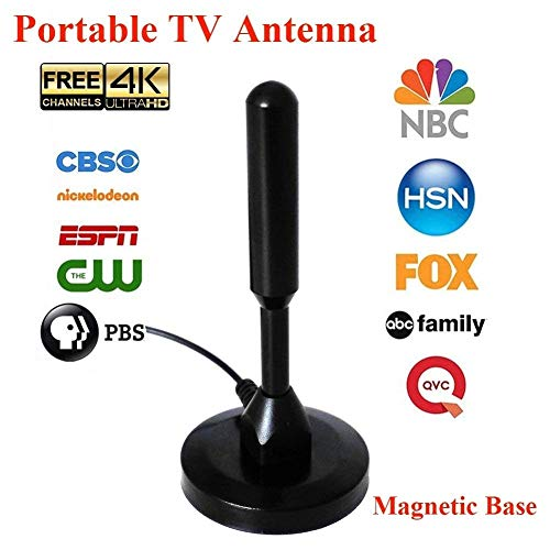 [NEWEST 2018] 80-120 Miles Digital TV Antenna Portable Indoor Outdoor Free Channels HDTV Antenna for USB TV Tuner ATSC Television PCI/USB TV Tuner 16.8 ft Cable (With Magnetic Base)