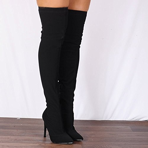 Shoe High Stretch Over Pointed Nubuck Knee Boots Thigh Black Stilettos The Closet Ladies 6wxq6gB