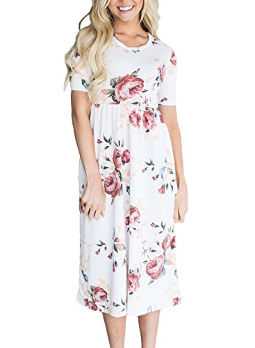 FARYSAYS Womens Summer Casual Floral Printed Short Sleeve Empire Flower Maxi Dress