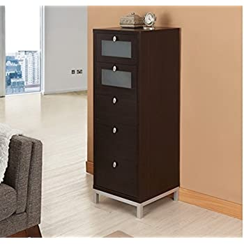 Beau This Item Wooden Drawer Unit Tall Home Office Storage Cabinet 5 Drawers  Narrow Brown