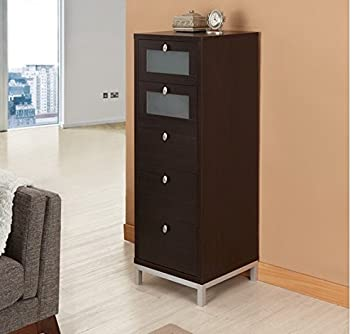 Wooden Drawer Unit Tall Home Office Storage Cabinet 5 Drawers Narrow Brown
