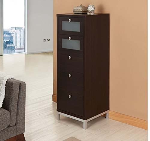 Wooden Drawer Unit Tall Home Office Storage Cabinet 5 Drawers Narrow Brown by Furniture of America