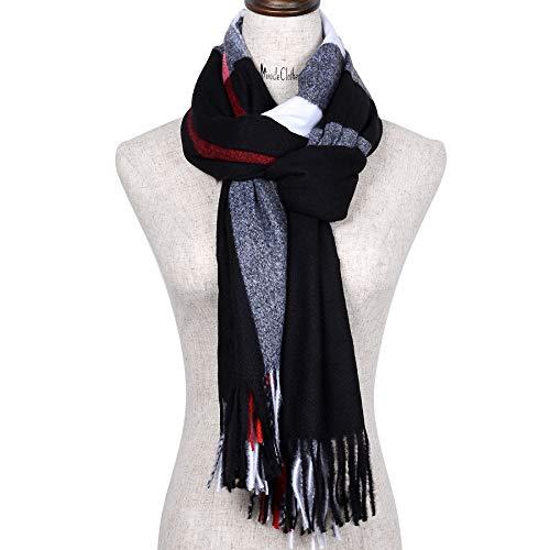 - Women's Long Soft Plaid Tartan Tassels Shawl Winter Warm Lattice Large Scarf Blanket Wrap Knit Cashmere Feel Plaid Triangle Scarf (Black)