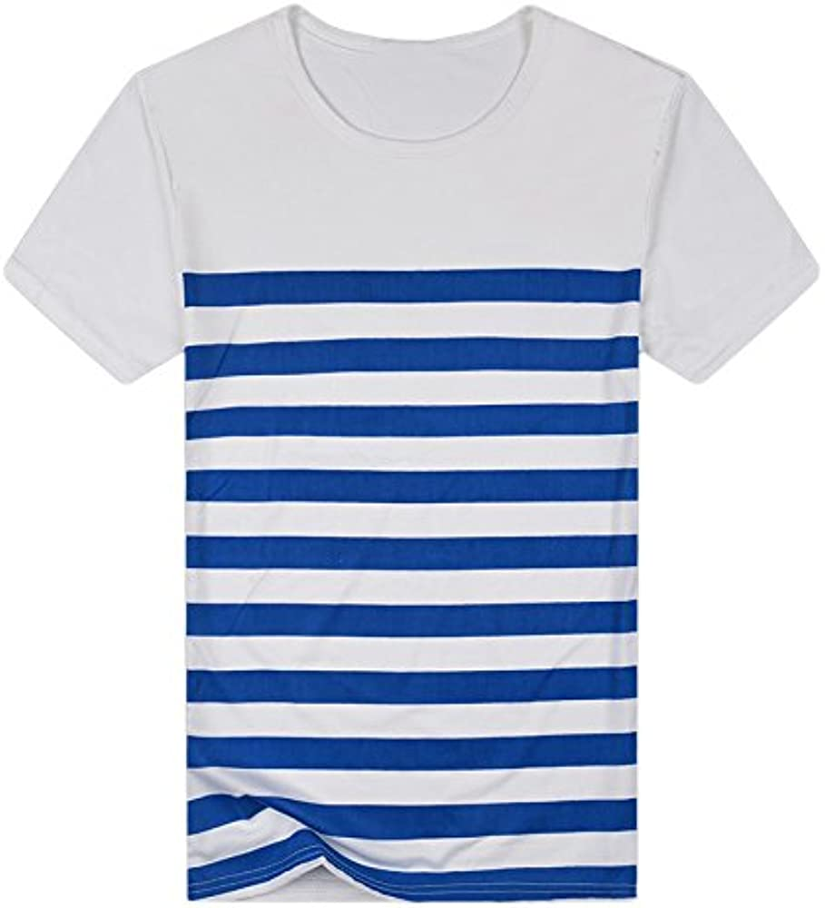Camiseta para Hombre, VPASS Verano Manga Corta Impresión a Rayas ...