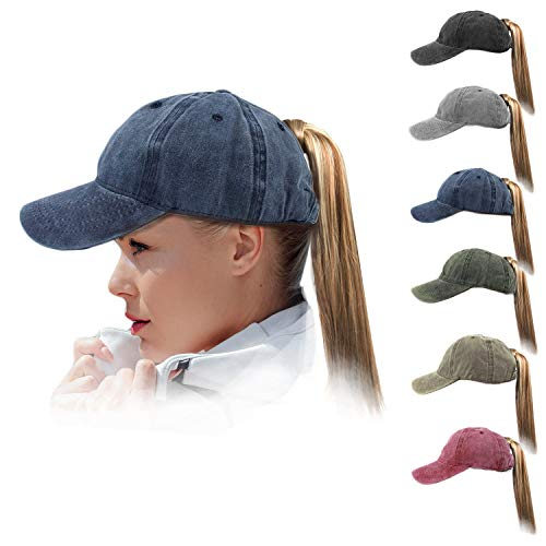 (HH HOFNEN Women Ponytail Hat Washed Twill Cotton Baseball Cap Vintage Adjustable Dad Hat (#03 Navy High Pony Tail))