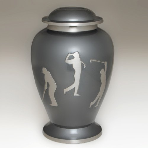 Beautiful Etched Golf Memorial Cremation Urn- Brass,sports Urn, Free Shipping