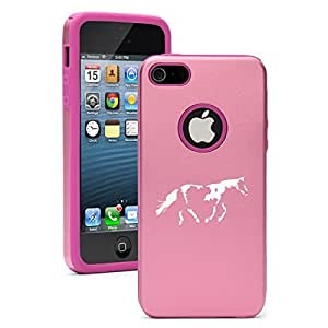 Apple iPhone 5c Aluminum Silicone Dual Layer Hard Case Cover Paint Horse (Pink)