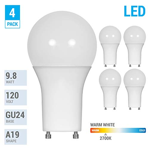 LED GU24 A19 Light Bulbs 60 Watt Equivalent, 9.5 Watt Dimmable Lights for Home with Twist & Lock Base, Replacing CFL GU24 Ceiling Light, Omni 220 Degree Beam Angle, 800 Lumen. (Warm White (2700K)) (Bulb Light Lock Twist Gu24)