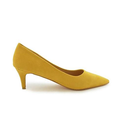 Zapato de salón tacón Medio Mostaza: Amazon.es: Zapatos y