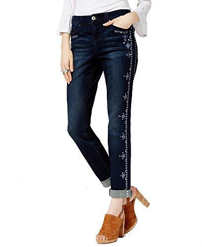 (INC International Concepts Petite Embroidered Indigo Wash Boyfriend Jeans (Indigo, 2P))