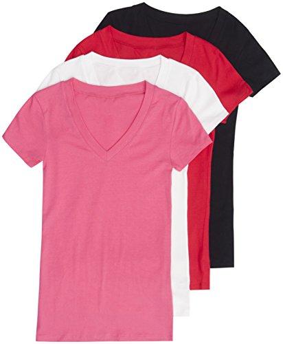 4 Pack Zenana Women's Basic V-Neck T-Shirts Small Black, White, Red, Fuchsia