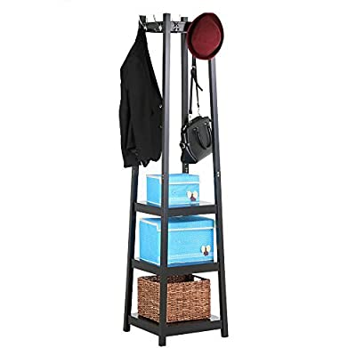 Yaheetech Coat Rack with 2-Tier Storage Shelves Garment Coat Hat Rack Hanger with 9 Hooks (Black) - 9 Metal Hooks: The upper part of the frame is designed with 9 hooks, which provides convenient and handy hanging space for scarves, hats, bags, clothes, etc.; each hook can load up to 9.9LB Full Iron Frame: Made of full Iron frame, which has been processed by baking paint process and has the function of anti-rust and anti-scratch; the design of x-shaped joint bar at the bottom of the iron frame makes the overall structure more stable. With Feet Pads: Each bottom leg has a wearproof feet pad, which can avoid scratching the floor; and reduce the noise created by moving - hall-trees, entryway-furniture-decor, entryway-laundry-room - 41Uz8W2JW7L. SS400  -