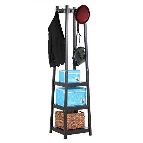 41Uz8W2JW7L - Yaheetech Coat Rack with 3-Tier Storage Shelves Garment Coat Hat Rack Hanger With 8 Hooks (Black)