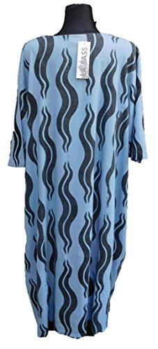 3 schwarz hellblau 2018 Mustermix Gr schwarz vanilie Kleid Druck Leinenkleid hellblau Kurzarm Leinen weit bunt Lagenlook Übergröße schwarz xP55nwqUOa