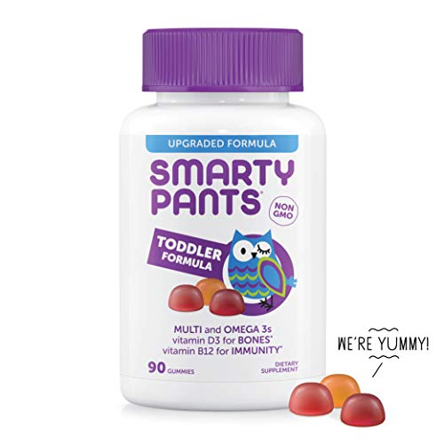 SmartyPants Toddler Formula Daily Gummy Vitamins: Gluten Free, Multivitamin & Omega 3 Fish Oil (DHA/EPA), Methyl B12, Vitamin D3, Vitamin B6, 90 Count (30 Day Supply) - Packaging May Vary (Best Gummy Vitamins For Toddlers)