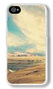 Beach Waves At Sunset Custom iPhone 4S Case Back Cover, Snap-on Shell Case Polycarbonate PC Plastic Hard Case Transparent