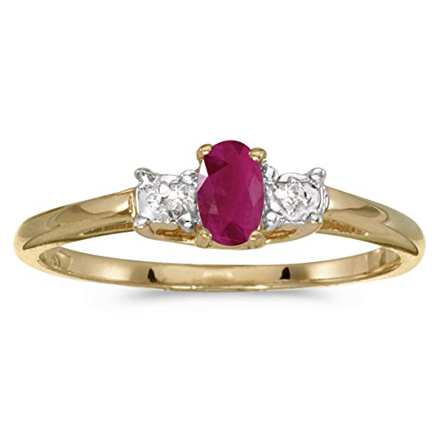 Jewels By Lux 14k Yellow Gold Genuine Red Birthstone Solitaire Oval Ruby And Diamond Wedding Engagement Ring - Size 6 (0.18 Cttw.)
