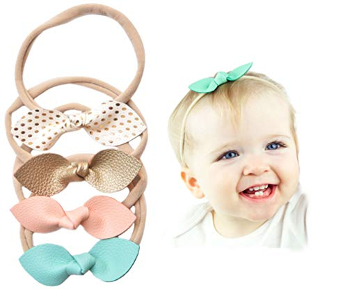 California Tot Rabbit Ears Faux Leather Bow - Soft & Stretchy Headband for Baby, Toddler, Girls, Set of 4 (Sweet Candy)