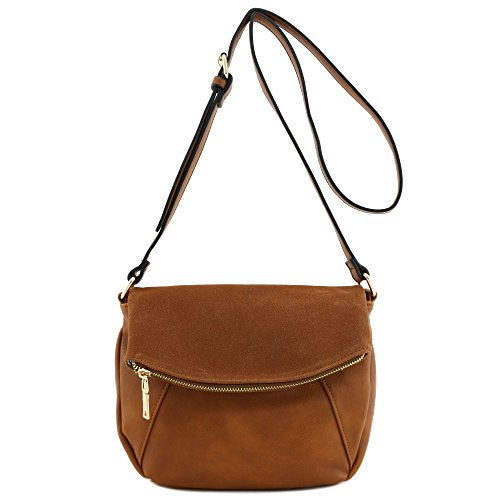 Leather Flap Bag - Faux Calfskin Leather Crossbody Bag with Suede Flap Brown