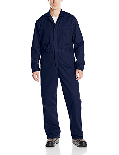 Red Kap Men's Snap Front Cotton Coverall, Navy, (Mens Blue Jumpsuit)