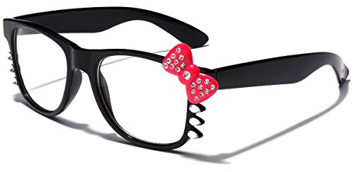 Hello Kitty Bow Women's Rhinestone Fashion Clear Lens Glasses with Bow and - For Glasses Girls Nerd