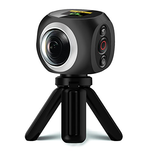 360 Degree VR Camera, Banne Wifi UHD,4K/15FPS, 2.7K/25FPS, 1080P/30FPS,360°Wide Angle Lens Wireless Sports Action Camera with One Undetachable Battery by Banne