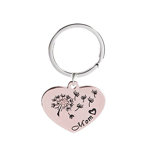 Mother's Gift Heart Shaped Mom Dandelion Pendant Charm Keychain Necklace