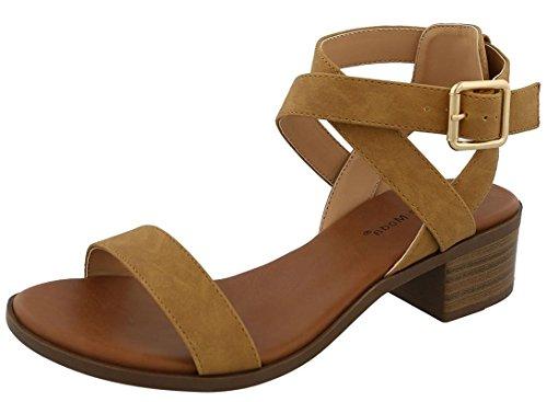 Tan Strappy Sandals - Top Moda Womens Strap Open Toe Heeled Strappy Heeled-Sandals, Tan, 8.5