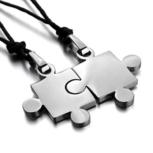 Inblue Men Womens 2 Pcs Stainless Steel Pendant Necklace Silver Tone Jigsaw Puzzle Love Couple Adjustable 20 22 Inch Chain