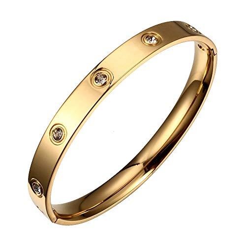 (Designer Inspired Titanium Steel Love Bracelet with Swarovski Crystals (Gold))