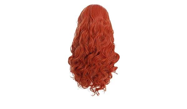 JYJM - Peluca de encaje rojo largo natural ondulada y sintética ...