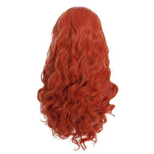 FILOL Long Curly Wigs,Women's Full Front Red Wavy Heat Resistant Synthetic Hair Cosplay Costume Daily Party Anime Hair Wig High Temperature Fiber (XL)]()