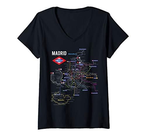 Womens Madrid Spain Metro Subway Train Map Gift V-Neck T-Shirt