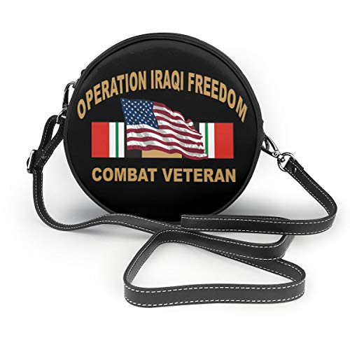 Operation Iraqi Freedom Combat Veteran Ladies Round Leather Shoulder Bags Tote Beach Bags Bag