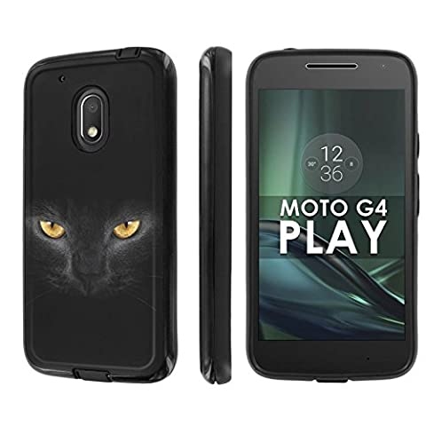 Motorola Moto G Play [4th Gen] Phone Case [NakedShield] [Black/Black] Dual Armor ShockProof Case - [Cat Eye] for Moto [G4 (Motorola G Glass Covers)