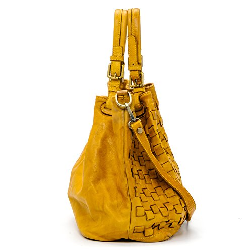 Made Vrai cuir Valle Sac Vintage femme Ira Italy in del Model Moutarde à Moutarde Caraibica main xPq0wYfw