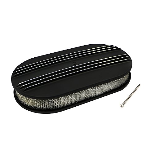 Assault Racing Products A6021-4PBK 15 x 2 Oval Partial Polished Finned Black Aluminum Air Cleaner Assembly Retro