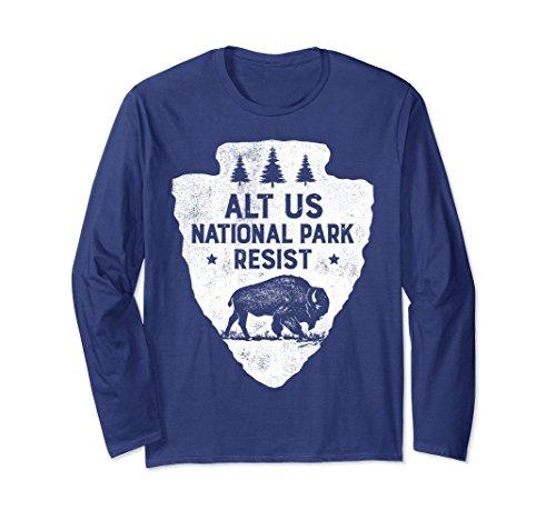 9004458e549 Unisex ALT US National Park Resist Service T shirt Bison Vintage Large Navy