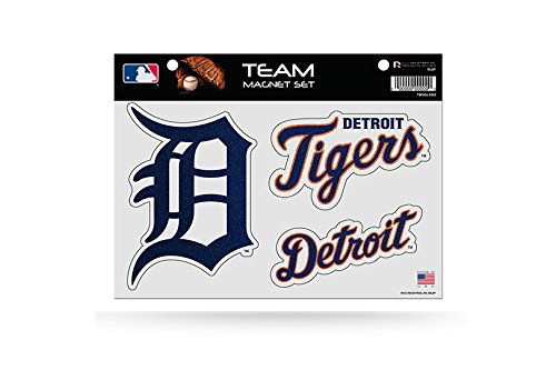 Acrylic Die Cut Magnet - MLB Detroit Tigers Bling Team Magnet Set with Team Logos, 8.5 x 11-Inch, Clear